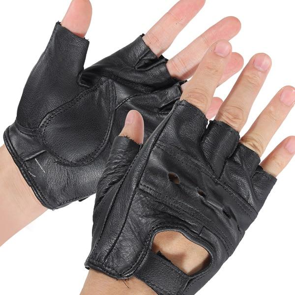 1 Pair Medium <font><b>Black</b></font> Sports Cowhide Bike Driving <font><b>Motorcycle</b></font> Motorbike Sport <font><b>Fingerless</b></font> Half Finger Leather <font><b>Gloves</b></font>