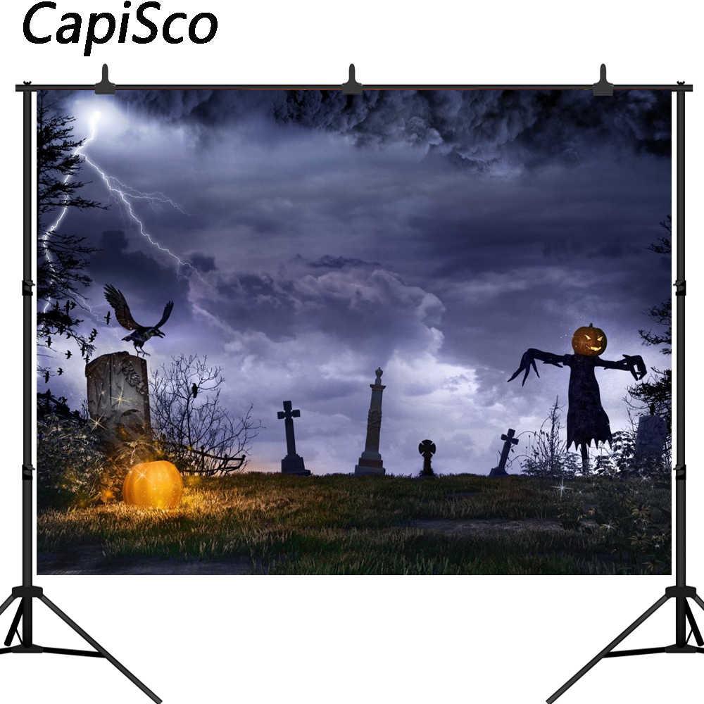 Capisco Halloween Theme night Headstone Photography backgrounds scarecrow terrorist Photo backdrops for Children Photo Studio