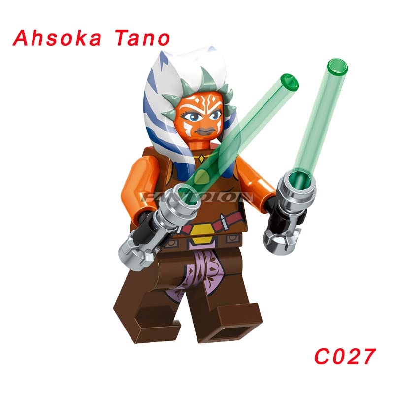 The Clone Wars Season Ahsoka Tano With Two Green Lightsabers Star Wars Building Block Toys Figures Toys For Children C027