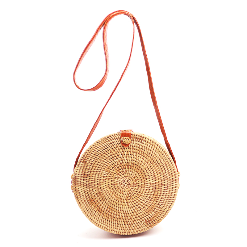 Rieten tas raffia : Round straw beach bag girls circle rattan small