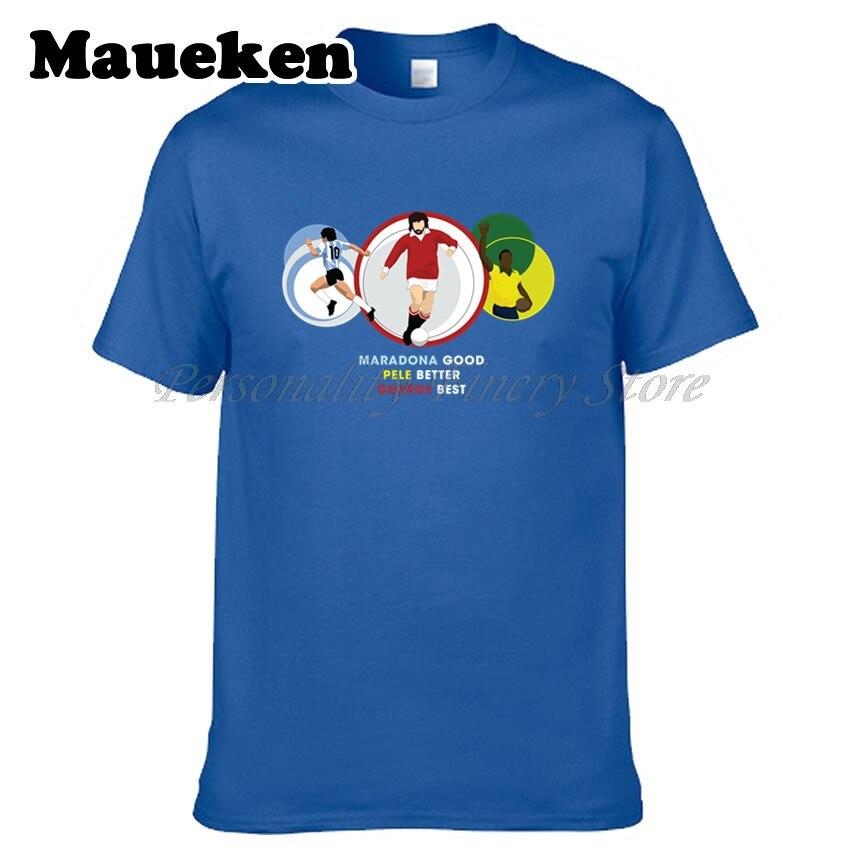 Для мужчин Легенда Диего Марадона хорошо Пеле лучше Джордж Best футболка o Rei сделать Futebol одежда футболка Для мужчин с О-образным вырезом футб...