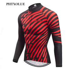 Phtxolue Winter Thermal Cycling Jersey Pro Long Sleeve MTB Bike Clothes Keep Warm Clothing Bicycle Wear