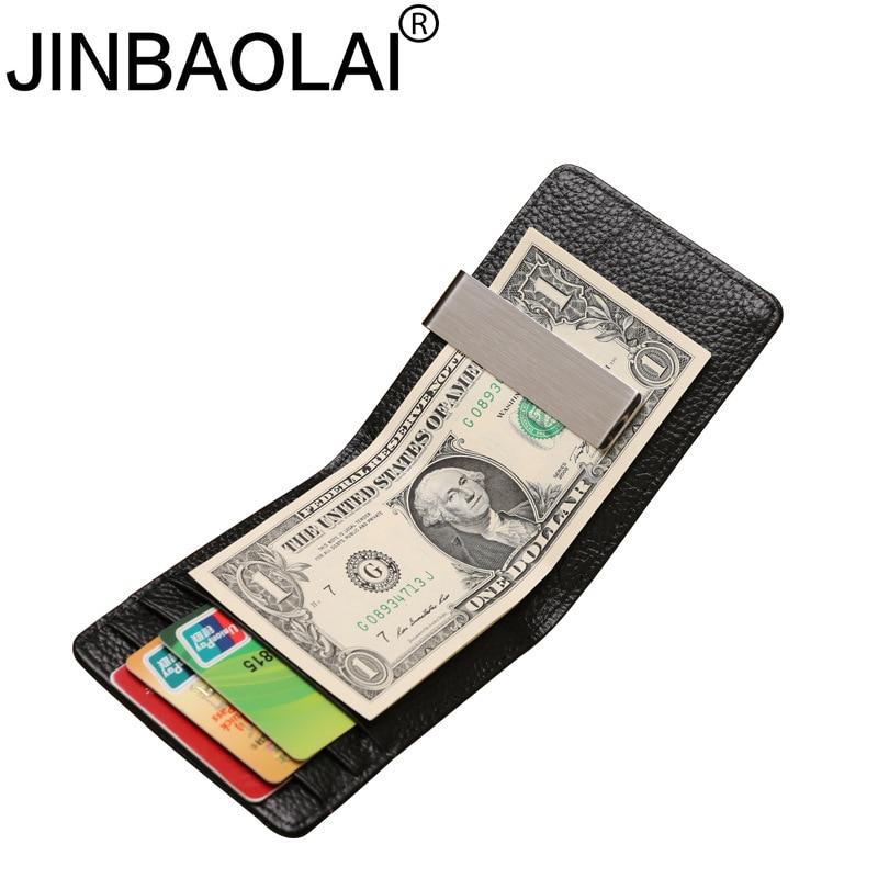 JINBAOLAI Quality Male Genuine Leather Design Fashion Slim Wallet Front Pocket Money Clip Mini Bill Purse For Men