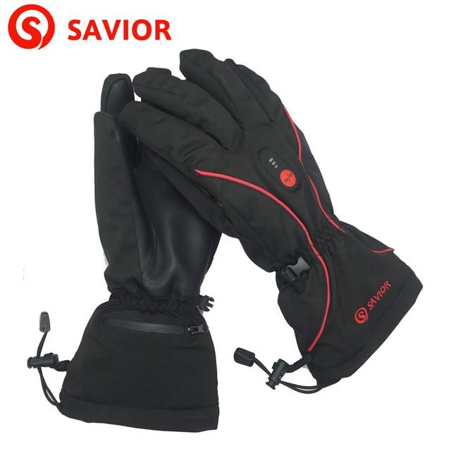 SAVIOR womens genuine leather heated glove waterproof windproof for cycling riding biking skiing smart heating winter warming