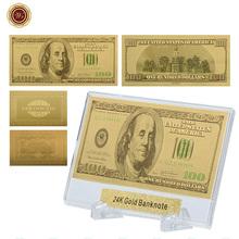 WR American normalne papierowe pieniądze jakość 999 9 pozłacane fałszywe pieniądze prezenty pamiątkowe kolekcjonerskie złoty metalowy rzemiosło ze stojakiem tanie tanio Europa Patriotyzmu 44*28*3mm Plastic capsule Square 24K Gold Plated Clear Plastic Case