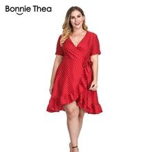 women red dot plus size Elegant dress summer Sexy short XL-4XL large Ruffles Party big dresses vestidos clothes 2018