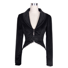 Gothic Victorian Black Fishtail Short Jackets for Women Punk Vintage Elegant Coat with Lace Flower