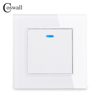 Coswall Luxury Crystal Tempered Glass Panel 1 Gang Way Light Switch On / Off Wall With LED Indicator 16A AC 250V - discount item  20% OFF Electrical Equipment & Supplies