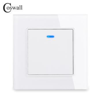 Coswall luksusowy kryształ Panel ze szkła hartowanego 1 Gang 1-drożny włącznik światła włącznik wyłącznik ścienny włącznik ze wskaźnikiem LED 16A AC 250V tanie i dobre opinie CN (pochodzenie) ROHS LED indicator switch Przełączniki 2 year CS-C1-D1G1-11 12 13 14 Toggle Switch White Black Grey Gold