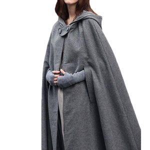 Image 4 - Casaco com capuz medieval feminino, fantasia vintage gótica com capa sobretudo 2020