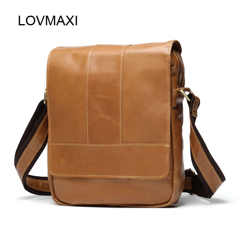 LOVMAXI Male vintage shoulder bag for men business bags genuine leather messenger bags Small coffee leather small handbags