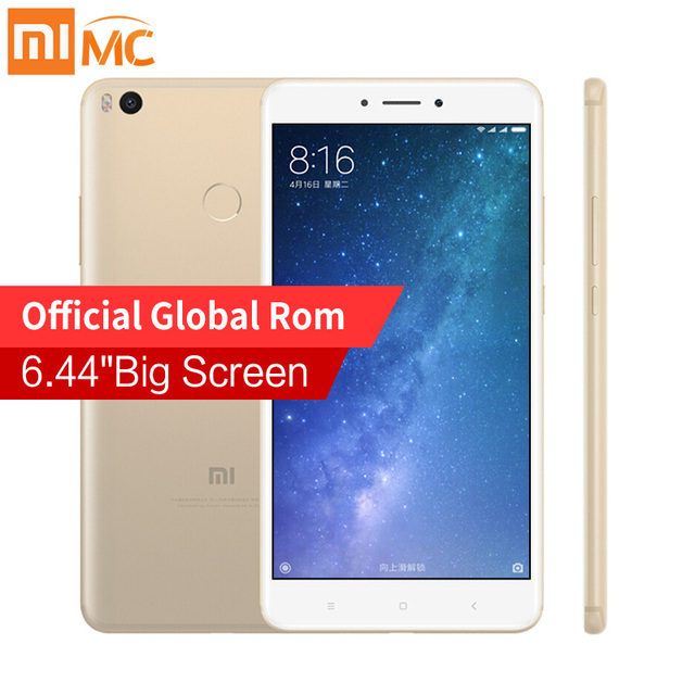 "Оригинал Сяо Mi Max 2 6.44 ""мобильный телефон 4 ГБ Оперативная память 128 ГБ Snapdragon 625 Octa core 1080 P 12.0MP OTG 5300 мАч Батарея смартфон"