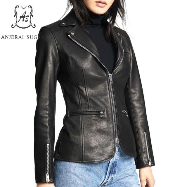 Black sheepskin genuine leather jacket women coat motorcycle clothing Turn-down Collar female sexy slim OL office zipper Jackets