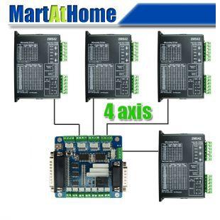 цена на Free Shipping Diy CNC Kit 4 Axis Stepper Drive 2M542 4.2A & 5 Axis Mach3 Breakout Interface Board for CNC Machine #SM565 @CF
