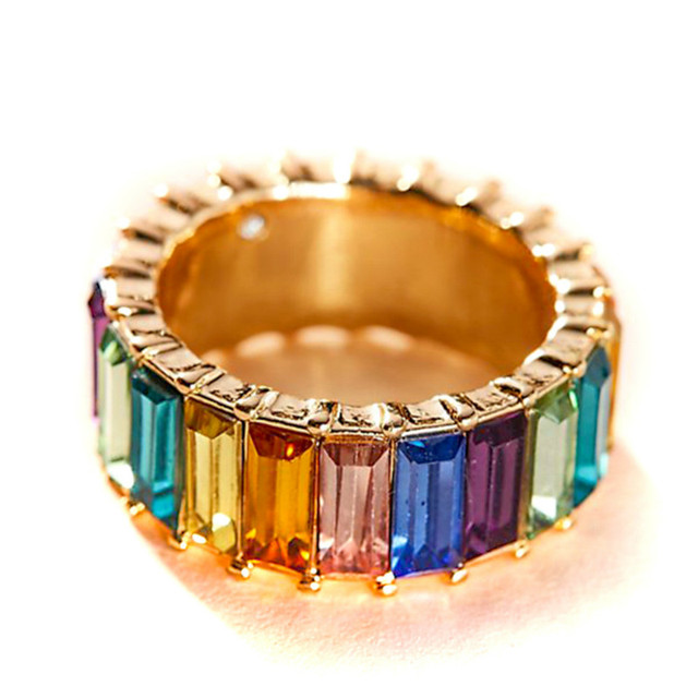 2019 Fashion Setting Rainbow Cz Thin Line Cubic Zirconia Rings for Women Men Lgbt  Engagement Colour Stack Pave Wedding Jewelry