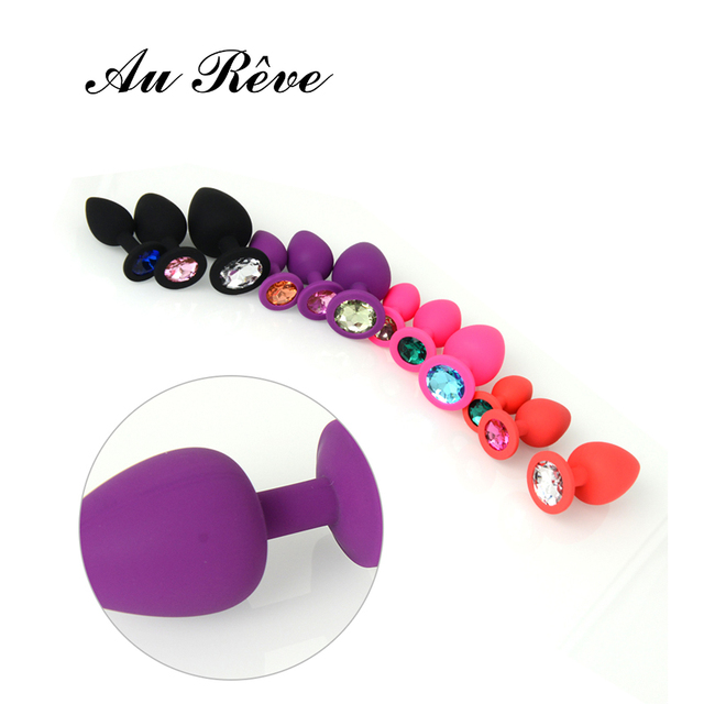 AuReve Anal Silicone Butt Plug With Crystal Jewelry