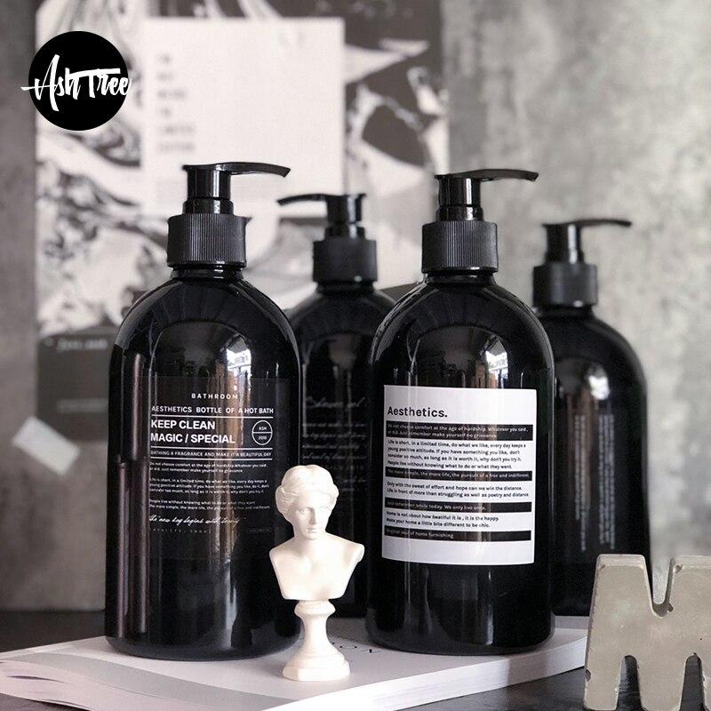 Scandinavian Bath Shampoo Storage Bottle Chic Black Liquid Lotion Bottle Nordic Travel Storage Bottle Organizer Decor 500ml