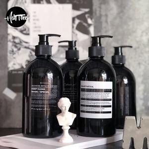 Image 1 - Scandinavian Bath Shampoo Storage Bottle Chic Black Liquid Lotion Bottle Nordic Travel Storage Bottle Organizer Decor 500ml