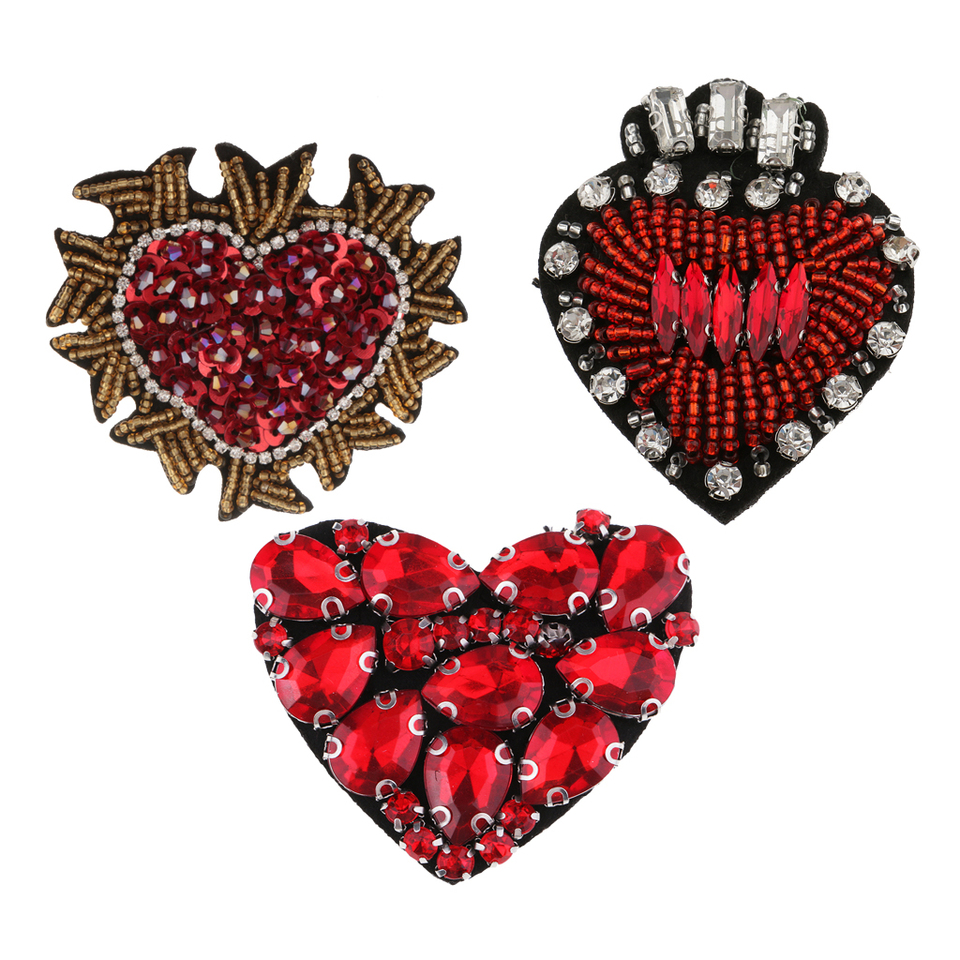 2pcs Beaded Crystal Heart Badge Applique Patch Sew on Patch DIY Accessories