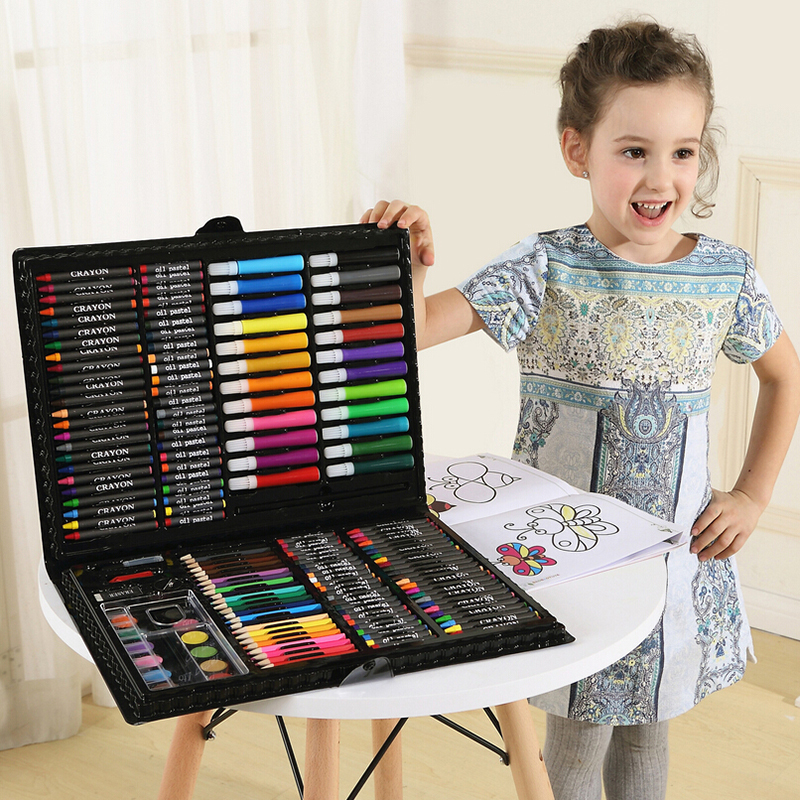 Hot 168PCS/set Rollerball Pen/ Colorful Pencil/ Wax Crayon and Oil Painting Brush Children Drawing Tool Set Art Drawing Toys
