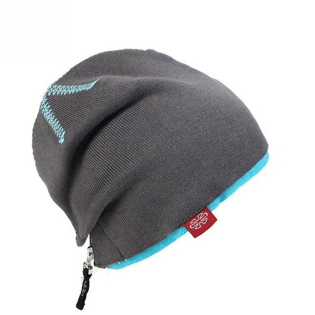 Double Layer Zipper Unisex Winter Reversible Warm Knitted Cap Beanies Snap Slouch Skullies Bonnet Beanie Hat Gorro Birthday Gift