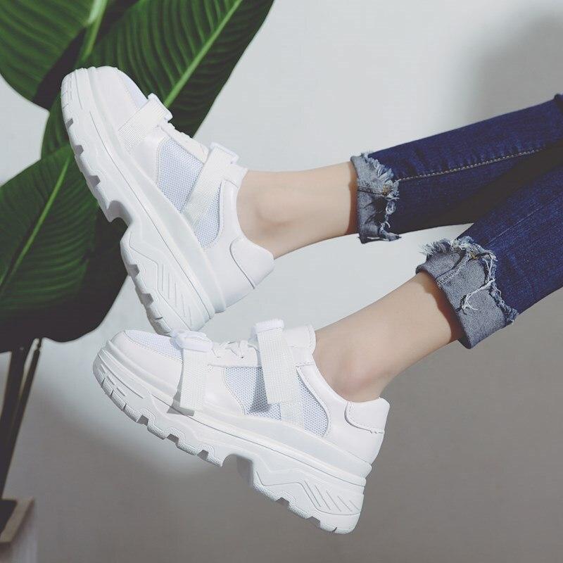 Chaussure Marque blanc Plate Étoile Qualité Femmes Chaussures Terre forme La Noir Dame De Boucle Fille Femelle Respirant Automne Blanc qC8wSPq