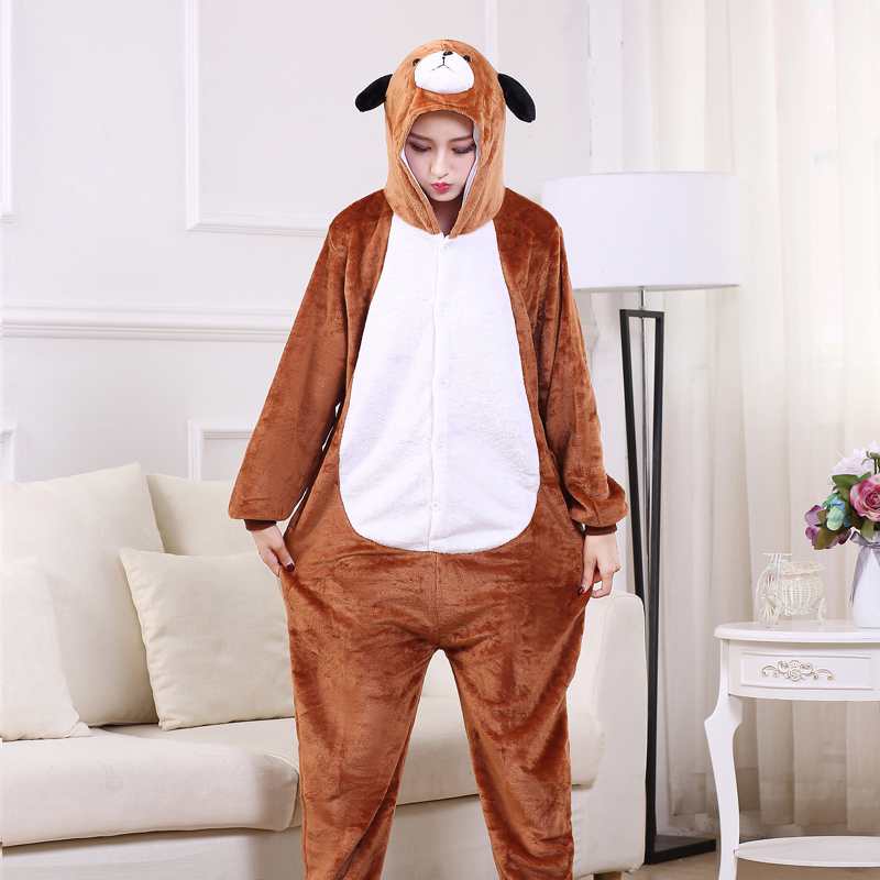 Cute Brown Dog Onesie Flannel One-Piece Pajamas Kigurumi Animal  Doggie Sleepwear Women And Men For Halloween Cosplay Party (3)