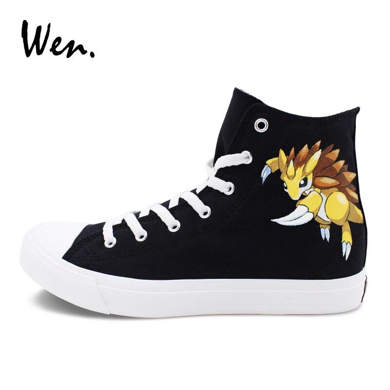 Wen Men Women Hand Painted Shoes Design Pangolin Pokemon Anime Graffiti Shoes Black Canvas Sneakers Athletic Hi Top