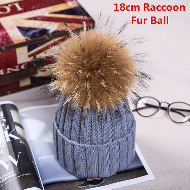 Autumn Winter Women Cap Real Raccoon fur ball hat Pom poms 18CM knitted cap female thick protect ear warm Lady Beanies Headgear