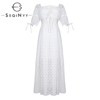 SEQINYY/Белое платье, кружевное, с вырезами, высокое качество, вышивка, лето 2019, новый модный дизайн, короткий рукав, платье миди, женское милое