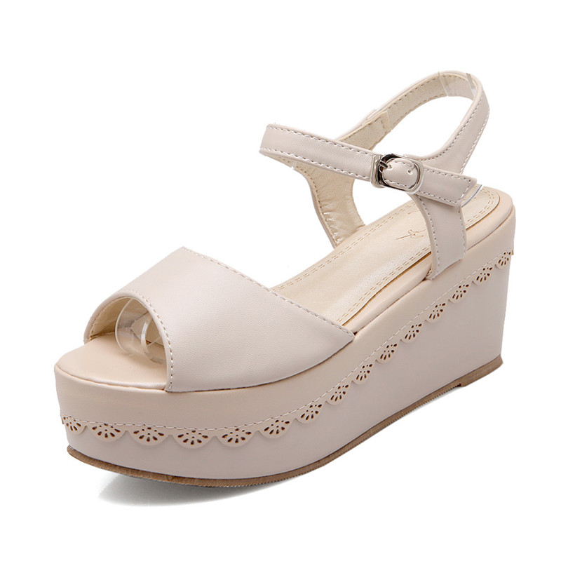 ФОТО Natural Leather Platform Sandals Women Wedges Women Sandals Platform Superstar High Quality