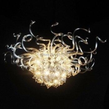 Kontemporer Warna Krem Kristal Celing Lampu 100% Tangan Ditiup Kaca Flush Mounted LED Ceiling Light
