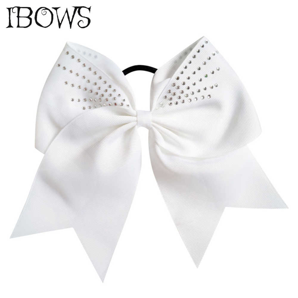High Quality Pretty Rhinestone Cheer Bow Grosgrain Ribbon Hair Bows With Elastic Rubber Band For Girls Hair Ponytail Holder