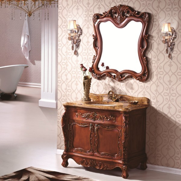 Thailand Oak Solid Wood Antique Classic Bathroom Mirror