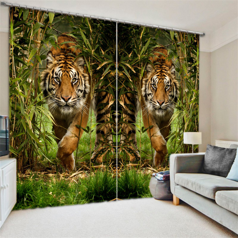 Tiger Leopard Painting Blackout Curtains Living Room Hotel Drapes Cortians Sunshade Window Curtain 3D