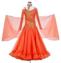 Ballroom Competition Dance Dress Lady's High Quality Custom Made Long Sleeve Tango Waltz Flamenco Ballroom Dancing Costume