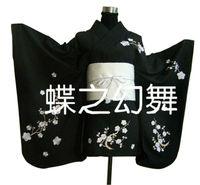 Japan Anime Floral Kimono Traditional Women black Short Furisode Cosplay Costume