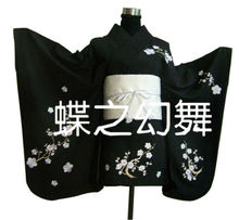 Japan Anime Floral Kimono Traditional Women black  Short Furisode Cosplay Costume