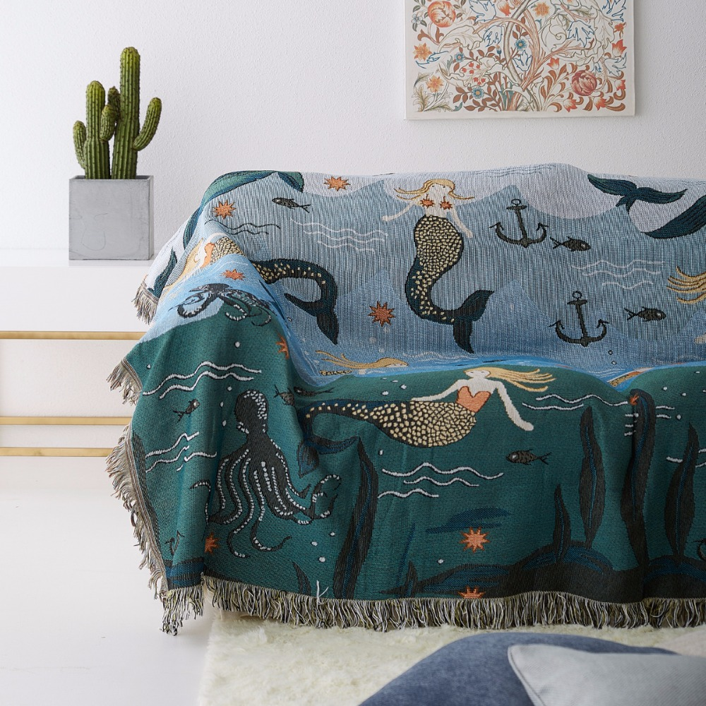 Sofa Throws Knitted Mermaid Sofa Throw Blanket Knitted Chair Sofa Cover Towel Cartoon Couch Carpet Soft Cotton Travel Plaids Cover Bedding Tapestry