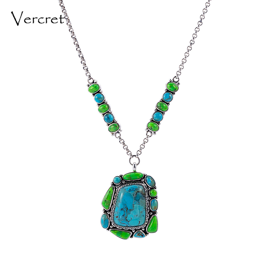 цена на Vercret Vintage Bohemia Turquoise Pendent Necklace for Women Real 925 Sterling Silver Necklace Gift Jewelry