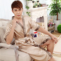 2016 winter hot sale red chinese men bath robe kimono bath gown faux silk yukata nightgown