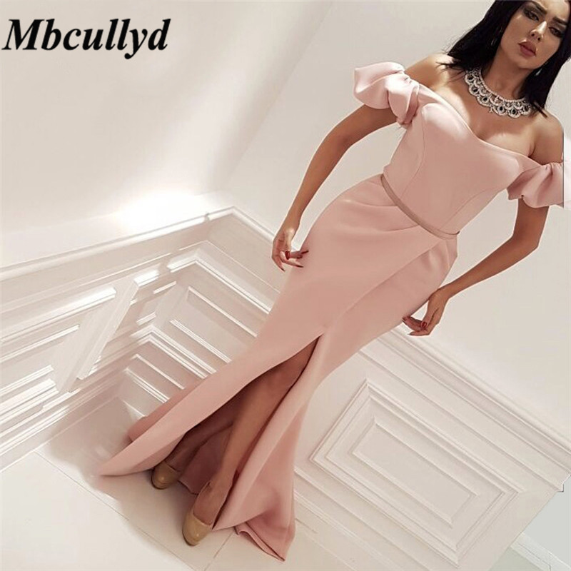 Mbcullyd Pink Mermaid Long Bridesmaid Dresses 2019 Sexy Off The Shoulder  Arabic Wedding Party Gown Cheap f999a6819527