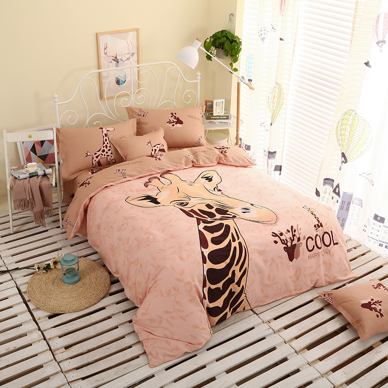 2017 Bed New Cartoon Cute Printing Pattern Soft And Comfortable Four Sets Of Home Textiles Quilt + Bed + Pillowcase
