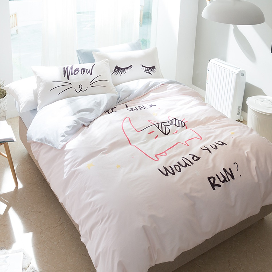 cat with glasses bedding set 4pcs queen twin size light pink duvet cover eyelash pillowcase 100. Black Bedroom Furniture Sets. Home Design Ideas