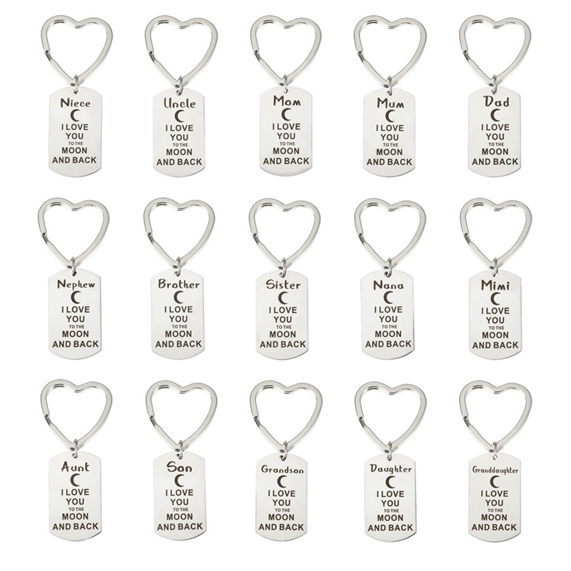 Dad/Mum/Granddaughter/Son/Grandson/Daughter/Aunt I Love You To The Moon And Back Stainless Steel Keychain Keyring Birthday Gifts