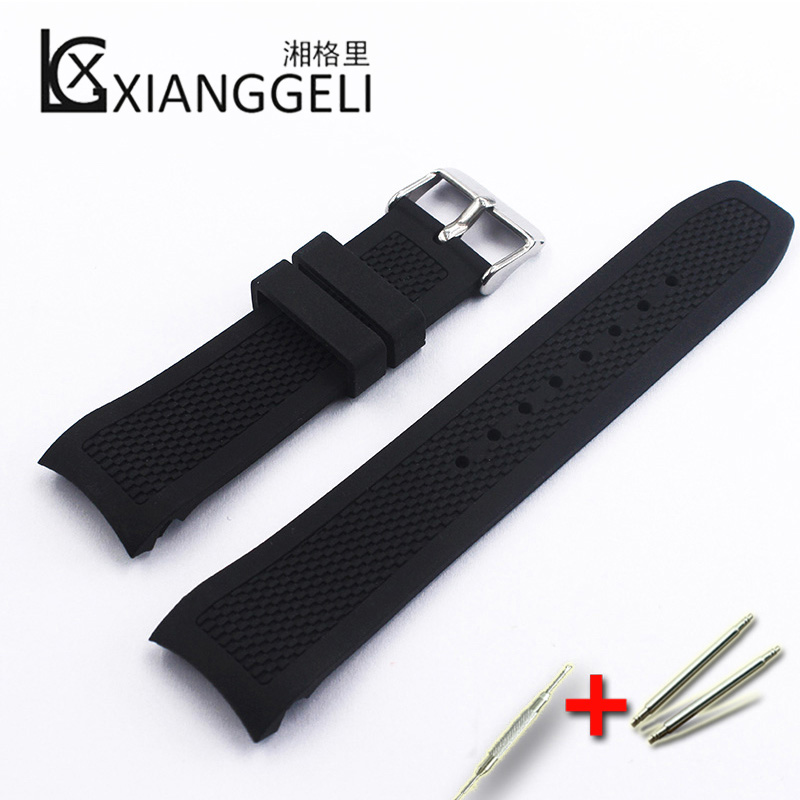 Black Silicone Strap 22m Buckle Strap Watch Accessories Outdoor Sports Diving Lady Men Watch Band Curved Interface