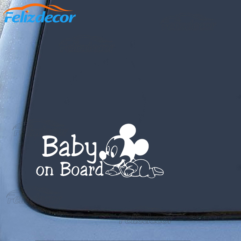 23*10cm Mickey Mouse Baby On Board Quote Motto Sign Car Bumper