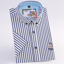 Men's Short Sleeve Wrinkle-Resistant Plaid/striped Dress Shirt with Embroidered
