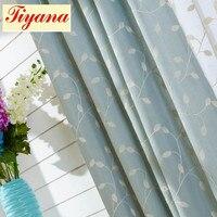 Nowoczesny Bawełna tkaniny lniane zasłony i trochę świeżych liści wzór voile tulle niebieski haftowane zasłony do salonu WP313 * 30