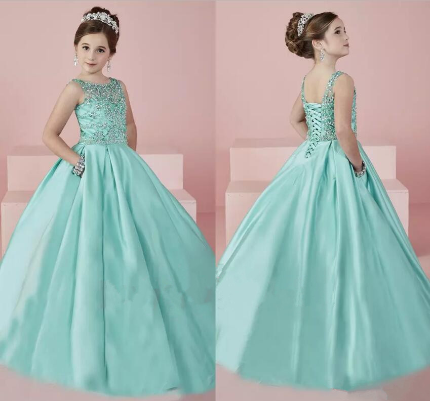 New Shinning Girls Pageant Dresses 2018 Sheer Neck Beaded Crystal Satin Mint Green Flower Girl Gowns Formal Party Dress цены онлайн